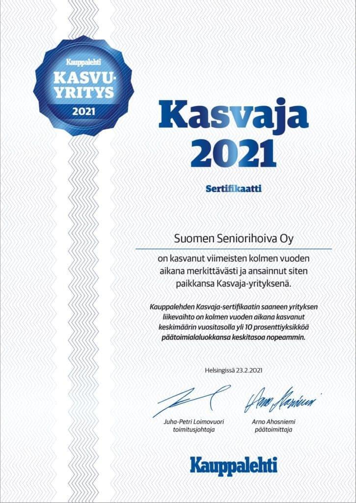 Suomen Seniorihoiva Kasvaja sertifikaatti