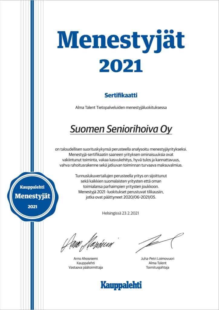 Suomen Seniorihoiva Menestyjät Sertifikaatti